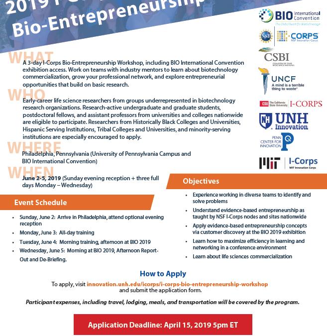 2019 I-Corps Bio-Entrepreneurship Workshop